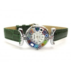 Murano millefiori watch, Chrome case - Mod. Lady, Green Strap, (Available in 21 Colours)