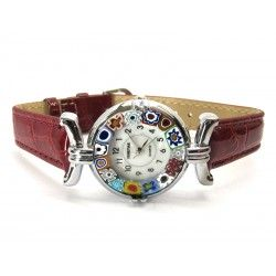 Murano millefiori watch, Chrome case - Mod. Lady, Bordò Strap, (Available in 21 Colours)