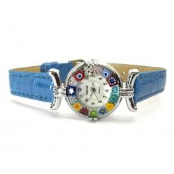 Orologio con vetro di Murrina Veneziana, cassa Cromata, Cint. Azzurro Sc - Mod. Lady (Disponibile in 21 Colori)