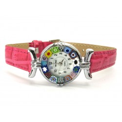 Murano millefiori watch, Chrome case - Mod. Lady, Fuchsia Strap, (Available in 21 Colours)