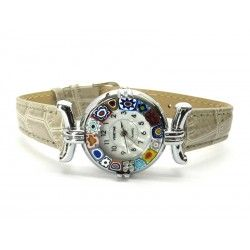 Murano millefiori watch, Chrome case - Mod. Lady, Grey C Strap, (Available in 21 Colours)