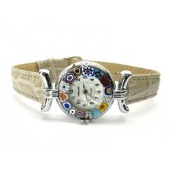 Orologio con vetro di Murrina Veneziana, cassa Cromata, Cint. Grigio Ch - Mod. Lady (Disponibile in 21 Colori)