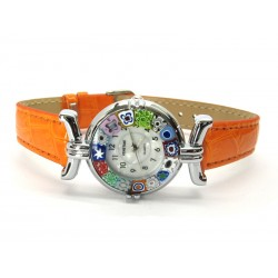 Murano millefiori watch, Chrome case - Mod. Lady, Orange Strap, (Available in 21 Colours)