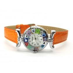 Orologio con vetro di Murrina Veneziana, cassa Cromata, Cint. Arancio - Mod. Lady (Disponibile in 21 Colori)