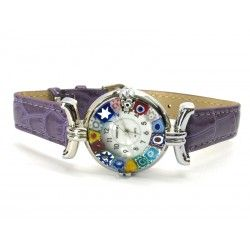 Murano millefiori watch, Chrome case - Mod. Lady, Violet Strap, (Available in 21 Colours)