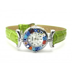 Murano millefiori watch, Chrome case - Mod. Lady, Green L Strap, (Available in 21 Colours)