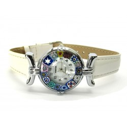 Murano millefiori watch, Chrome case - Mod. Lady, White Strap, (Available in 21 Colours)