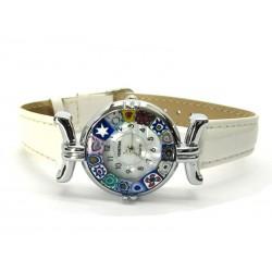 Orologio con vetro di Murrina Veneziana, cassa Cromata, Cint. Bianco - Mod. Lady (Disponibile in 21 Colori)