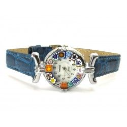Murano millefiori watch, Chrome case - Mod. Lady, Blue Strap, (Available in 21 Colours)