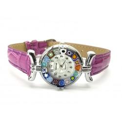 Orologio con vetro di Murrina Veneziana, cassa Cromata, Cint. Fucsia Sc - Mod. Lady (Disponibile in 21 Colori)