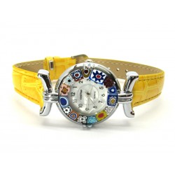 Murano millefiori watch, Chrome case - Mod. Lady, Yellow Strap, (Available in 21 Colours)