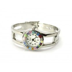 Murano Millefiori Bangle Watch, Case and Bracelet in Chrome Metal - Mod. Casanova