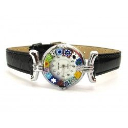 Murano millefiori watch, Chrome case - Mod. Lady, Black Strap, (Available in 21 Colours)
