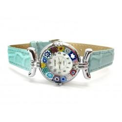 Orologio con vetro di Murrina Veneziana, cassa Cromata, Cint. Azzurro - Mod. Lady (Disponibile in 21 Colori)