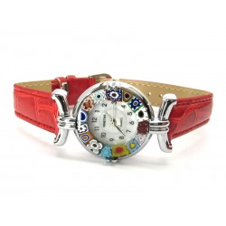 Orologio con vetro di Murrina Veneziana, cassa Cromata, Cint. Rosso - Mod. Lady (Disponibile in 21 Colori)
