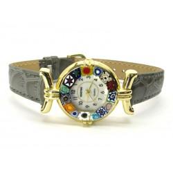 Orologio con vetro di Murrina Veneziana, cassa Dorata, Cint. Grigio - Mod. Lady (Disponibile in 21 Colori)