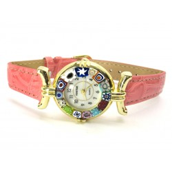 Murano millefiori watch, Gold case - Mod. Lady, Pink Strap, (Available in 21 Colours)