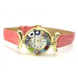 Orologio con vetro di Murrina Veneziana, cassa Dorata, Cint. Rosa - Mod. Lady (Disponibile in 21 Colori)