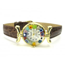 Murano millefiori watch, Gold case - Mod. Lady, Brown Strap, (Available in 21 Colours)