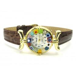 Orologio con vetro di Murrina Veneziana, cassa Dorata, Cint. Marrone - Mod. Lady (Disponibile in 21 Colori)