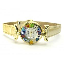 Orologio con vetro di Murrina Veneziana, cassa Dorata, Cint. Avorio - Mod. Lady (Disponibile in 21 Colori)