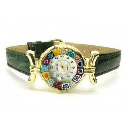 Murano millefiori watch, Gold case - Mod. Lady, Green Strap, (Available in 21 Colours)