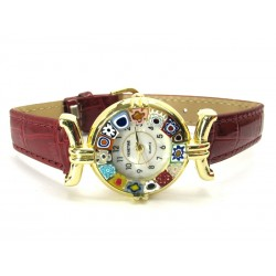 Murano millefiori watch, Gold case - Mod. Lady, Bordò Strap, (Available in 21 Colours)