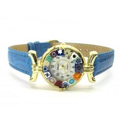 Orologio con vetro di Murrina Veneziana, cassa Dorata, Cint. Azzurro Sc - Mod. Lady (Disponibile in 21 Colori)
