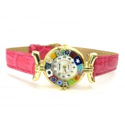 Orologio con vetro di Murrina Veneziana, cassa Dorata, Cint. Fucsia - Mod. Lady (Disponibile in 21 Colori)