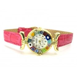 Murano millefiori watch, Gold case - Mod. Lady, Fuchsia Strap, (Available in 21 Colours)
