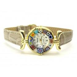 Orologio con vetro di Murrina Veneziana, cassa Dorata, Cint. Grigio Ch - Mod. Lady (Disponibile in 21 Colori)