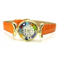 Orologio con vetro di Murrina Veneziana, cassa Dorata, Cint. Arancio - Mod. Lady (Disponibile in 21 Colori)