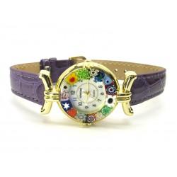 Orologio con vetro di Murrina Veneziana, cassa Dorata, Cint. Viola - Mod. Lady (Disponibile in 21 Colori)