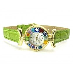 Murano millefiori watch, Gold case - Mod. Lady, Green L Strap, (Available in 21 Colours)