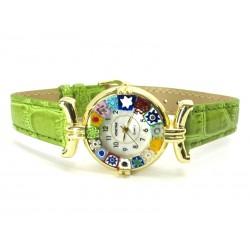 Orologio con vetro di Murrina Veneziana, cassa Dorata, Cint. Verde Ch - Mod. Lady (Disponibile in 21 Colori)