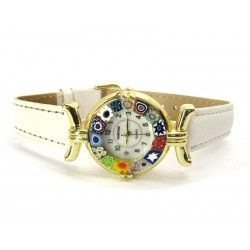 Murano millefiori watch, Gold case - Mod. Lady, White Strap, (Available in 21 Colours)