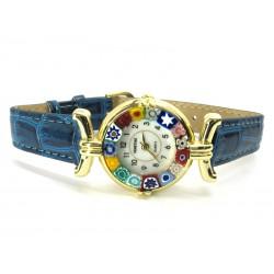 Orologio con vetro di Murrina Veneziana, cassa Dorata, Cint. Blu - Mod. Lady (Disponibile in 21 Colori)