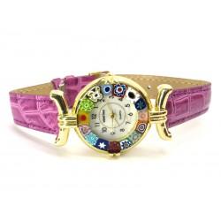 Orologio con vetro di Murrina Veneziana, cassa Dorata, Cint. Fucsia Sc - Mod. Lady (Disponibile in 21 Colori)