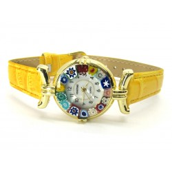Murano millefiori watch, Gold case - Mod. Lady, Yellow Strap, (Available in 21 Colours)