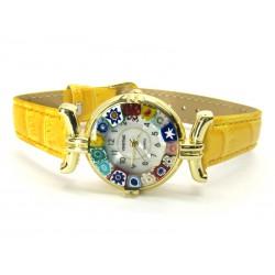 Orologio con vetro di Murrina Veneziana, cassa Dorata, Cint. Giallo - Mod. Lady (Disponibile in 21 Colori)