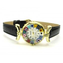 Murano millefiori watch, Gold case - Mod. Lady, Black Strap, (Available in 21 Colours)