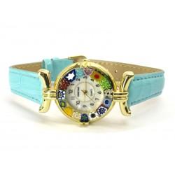 Orologio con vetro di Murrina Veneziana, cassa Dorata, Cint. Azzurro - Mod. Lady (Disponibile in 21 Colori)