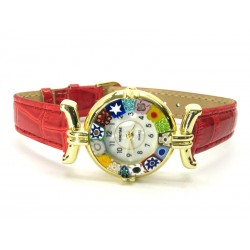 Murano millefiori watch, Gold case - Mod. Lady, Red Strap, (Available in 21 Colours)