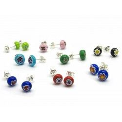 Murrina Millefiori Earrings, in Sterling Silver- Mod. Millecolori - 8 mm (Available in assorted Colours)