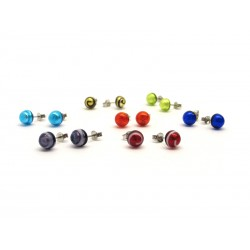 Murrina Millefiori Earrings, in Sterling Silver- Mod. Jani - 8 mm (Available in assorted Colours)