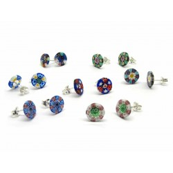 Murrina Millefiori Earrings, in Sterling Silver- Mod. Rondò - 10 mm (Available in assorted Colours)