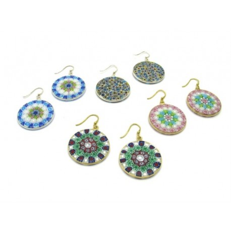 Murrina Millefiori Earrings, in Sterling Silver, 26 mm in diameter (Available in 15 assorted Colours)