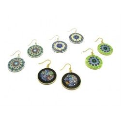 Murrina Millefiori Earrings, in Sterling Silver, 23 mm in diameter (Available in 15 assorted Colours)