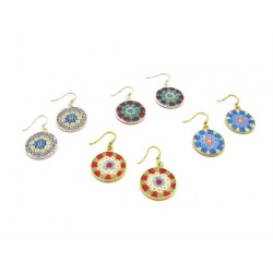 Murrina Millefiori Earrings, in Sterling Silver, 18 mm in diameter (Available in 15 assorted Colours)