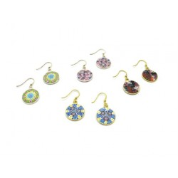 Murrina Millefiori Earrings, in Sterling Silver, 14 mm in diameter (Available in 15 assorted Colours)